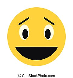 Laughing smiley face icon, flat style
