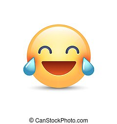 Laughing smiley with Tears of Joy. Happy cartoon emoticon. Emoji face laugh and crying