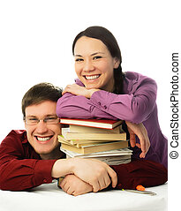 laughing students with books