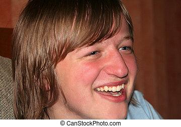 Laughing Teen Boy Closeup