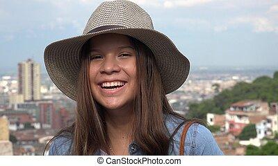 Laughing Teen Girl Having Fun Wearing Hat