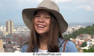 Laughing Teen Girl Having Fun Wearing Hat