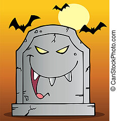 Laughing Tombstone Mascot - Laughing Evil Tombstone Under...
