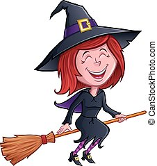 Laughing Witch Riding Her Broom