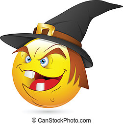 Laughing Witch Smiley Face - Creative Abstract Conceptual...