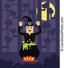 Laughing Witch with a Cauldron in Scary Night Time Forest on Halloween Flat Style