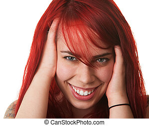 Laughing Woman Holding Her Hair