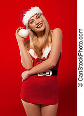 Laughing woman in a Santa costume