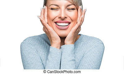 Laughing woman isolated on white background. Close up view.