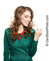 Laughing Woman Isolated on White Background. Smiling Female Model, Emotional Portrait