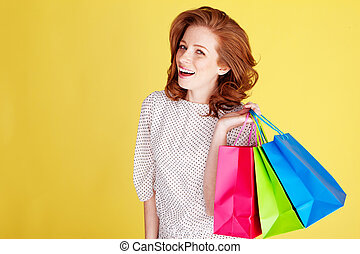Laughing Woman Out Shopping