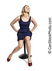 Laughing Woman Sitting on the Stool