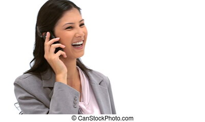 Laughing woman talking on the phone