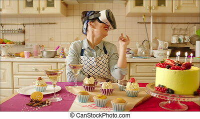 Laughing Woman Wearing Virtual Reality Glasses