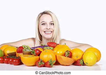 laughing woman with vitamins