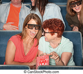 Laughing Women With 3D Glasses
