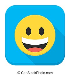 Laughing Yellow Smiley Face Flat App Icon