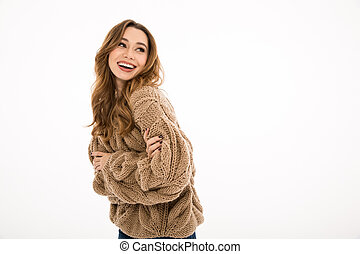 Laughing young cute woman