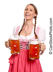 Laughing young woman in a dirndl serving beer - Laughing...