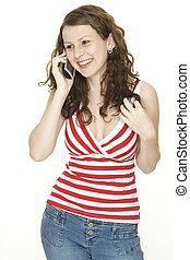 Laughter - A young woman laughs on the phone
