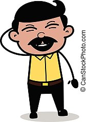 Laughter - Indian Cartoon Man Father Vector Illustration