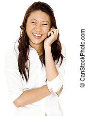 Laughter - A pretty young asian woman laughs as she talks on...