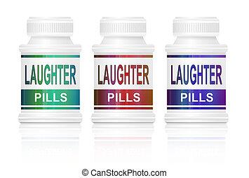 Laughter pills. - Illustration depicting three medication...
