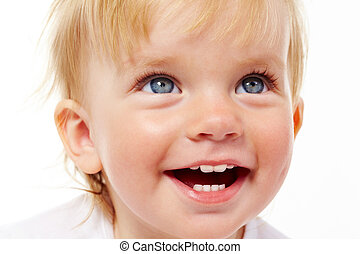 Laughter - Portrait of cute child laughing in isolation