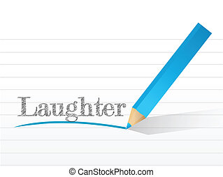 laughter written on a white piece of notebook paper