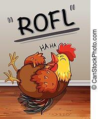 lauging, szöveg, csirke