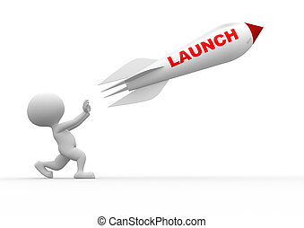 """3d people - man, person and a rocket with text """"launch"""""""