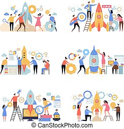 Launch business startup. Rocket successful company new working idea business metaphor office characters people managers vector scene