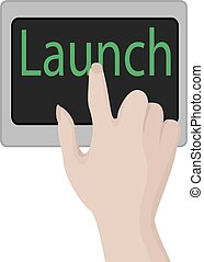 Launch button vector illustration. Business motivation Opportunity conept