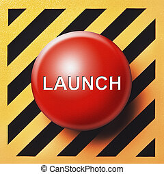 red launch button with white letters set on yellow and black back ground