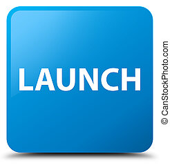 Launch cyan blue square button