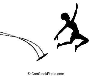 Editable vector silhouette of a young boy leaping off a swing