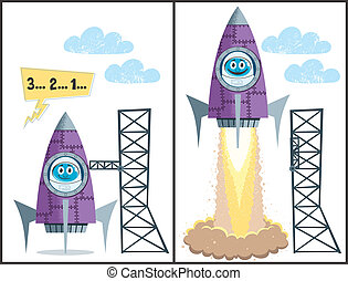 Launch - Comics about rocket taking off. No transparency and...