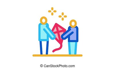 launch kite parent and child Icon Animation. color launch kite parent and child animated icon on white background
