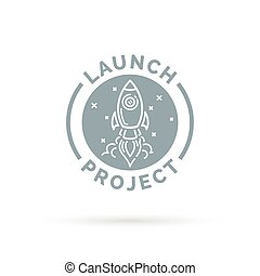 Launch new start up project icon button with space rocket.