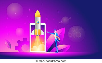 Launch of a mobile application is an isometric illustration. takeoff rocket or spacecraft over the mobile phone