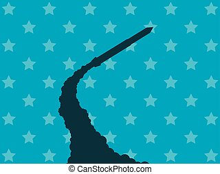 Launch of a nuclear missile. Launch of a ballistic missile. Vector illustration