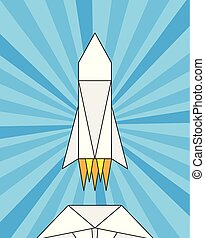 launch of a paper rocket, origami