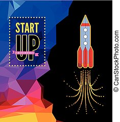 Launch of a space rocket in the drawing style.