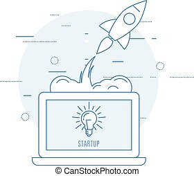 Launch of new business - sturtup beginning as rocket takeoff