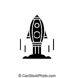 Launch of the project black icon, vector sign on isolated background. Launch of the project concept symbol, illustration