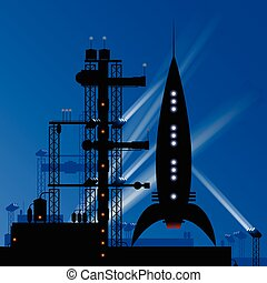 A retro cartoon rocket at night on a launch pad preparing to take off.