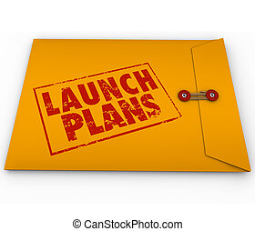 Launch Plans Yellow Envelope Start New Business Company...