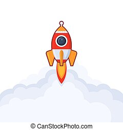 Launch Rocket Icon on White Background. Vector Illustration