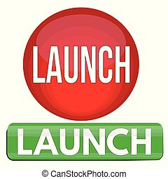 Launch round and square website glossy button