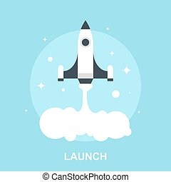 Launch - Vector illustration of launch flat design concept.